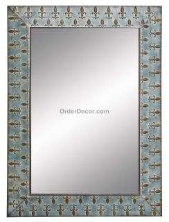 43 Antique Style Wall Mirror, Fleur De Lis, Rectangle