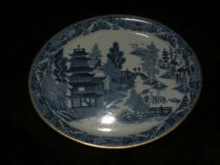 ANTIQUE PEARLWARE BLUE WILLOW TEAPOT STAND TRAY TRIVET
