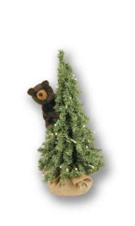18 Table Top Christmas Pine Tree Bear   Lighted   Black Bear   Item