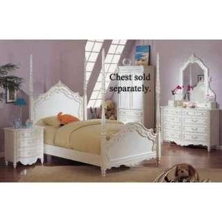 Pearl White 4Pc Princess Girls Full Poster Bedroom Set