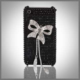 DIAMONDS BOW BLACK BLING RHINESTONE DIAMOND CASE COVER IPHONE 4 4G 4S