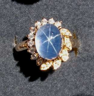 LINDE LINDY TRANSPARENT BLUE STAR SAPPHIRE CREATED RING