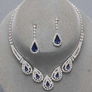 Bridal Bridesmaid Clear Crystal Elegant Costume jewelry Necklace