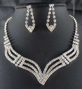 Bridal Bridesmaid crystal necklace earring Sliver Jewelry set TL0352