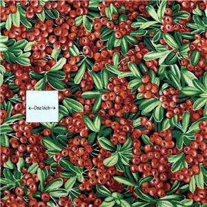FabriQuilt Cotton Fabric, Red Berries, Green Leaves FQs