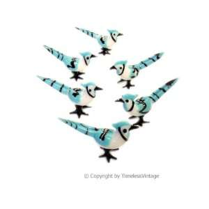 6 Hand Blown Art Glass Blue Jays Birds Figurines