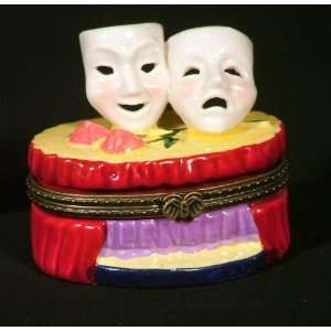 Greek Theater Comedy Tragedy Masks Hinged Box phb
