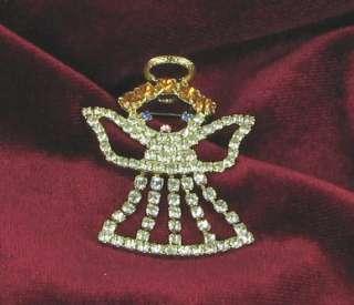New Christmas angel Xmas brooch pin halo with GLASS RHINESTONES never