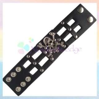Gothic Skull Cross bones Leather Mens Bracelet Bangle