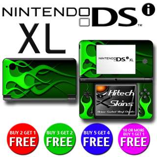 Skin (Graphic Decal) to fit   Nintendo DSi XL   GREEN FLAMES