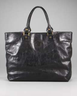 Leather Silver Shoulder Tote