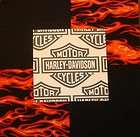 30 6HARLEY DAVIDSON Logo Red flames Black Quilt Fabric Squares