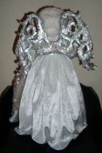 Extra Large Christmas Tree Angel * White Velvet w/Silver detail