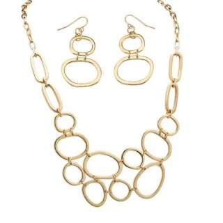 Jewelry Gold Plated Multi Circle Necklace and Earrings Set Earrings