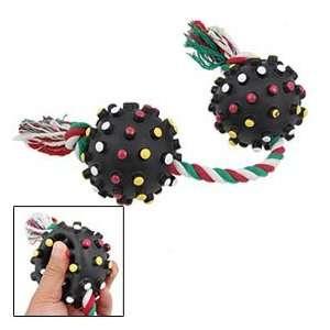 Rope w 2 Black Balls Pet Dog Squeaky Tug Chew Toy