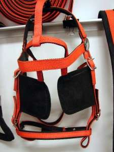 DRIVING CART CARRIAGE HORSE NYLON FULL HARNESS RED BLACK SYNTHETIC