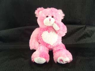 Plush Pink Heart Valentine Build a Bear I love U kisses