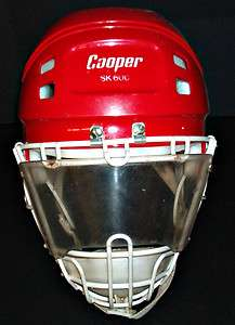 VINTAGE MENS COOPER SK600 RED HELMET & HM60 CAGE/SHIELD