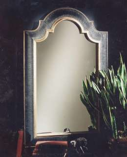 Hollywood Regency Ribbed Arch Black & Gold Wall Mirror
