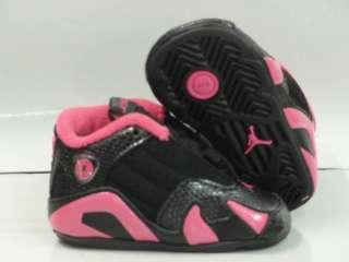 Nike Air Jordan 14 Retro Black Pink Sneakers Crib Baby Soft Shoes Size