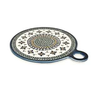 Polish Pottery Mosaic Flower Round Cutting Board Kitchen & Dining