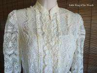 Vintage SAKOWITZ Ivory Lace 10 Dress w/ Bolero Mini Jacket ILGWU Label