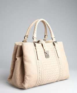 Bottega Veneta beige intrecciato leather stripe Roma tote