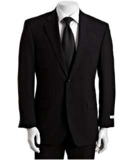 Calvin Klein White Label black striped wool 2 button suit with flat