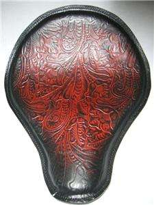Made 13x15 Red Tooled Spring Solo Leather Seat Chopper bobber Harley