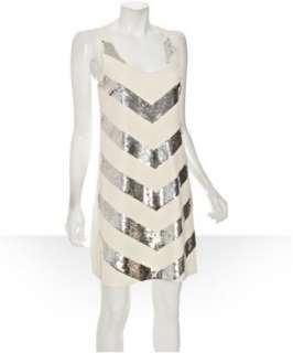 JB by Julie Brown ivory ponte knit Phebe sequin chevron racerback