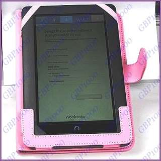 Pink  Nook Color PU Leather Case Cover