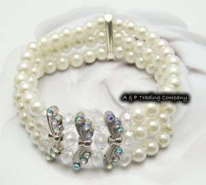 KW10 Elegant Pearls & Crystals Bridal Wedding Bracelet