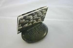 Custom Engraved Business Card Holder Personalized Polished Black Stone