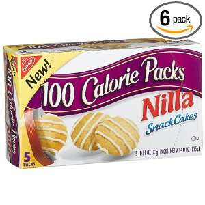 Nabisco 100 Calorie Pack Nilla Snack Cakes, 4 Ounce Boxes (Pack of 6