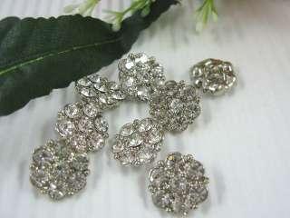 Sparkling Clear Crystal/Rhinestone Flower Buttons N097