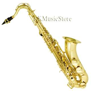 NEW PRO LEVEL GOLD TENOR SAXOPHONE SAX+TUNER+10 REEDS