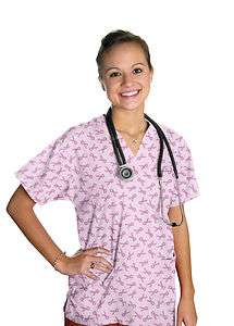 NWT Scrubs Pink Top Breast Cancer Ribbons