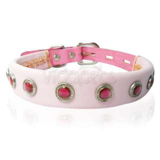 11 Genuine real leather Gemstone Pet Dog Collar Pink XS Small