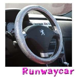 Runwaycar Bling Silver Steering wheel cover Size  L