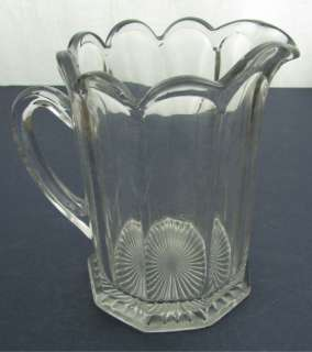 Antique EAPG Clear Glass Panel Beer Water Pitcher