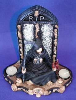 GOTHIC GRIM REAPER RIP 2 TEALIGHT CANDLE HOLDER LIGHT
