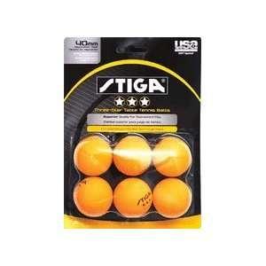 Stiga Three Star Orange Table Tennis Balls Sports